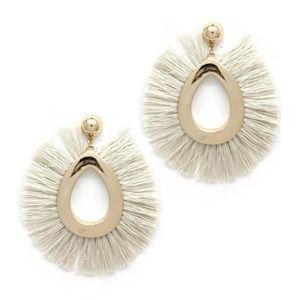 NWT Large White Tassel & Satin Gold Post Earrings